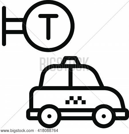 Taxicab Stand Icon, Supermarket And Shopping Mall Related Vector Illustration
