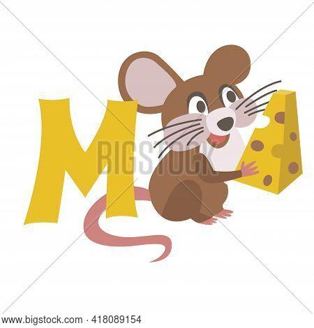 Mouse Animal Alphabet Symbol. English Letter M Isolated On White Background. Funny Hand Drawn Style
