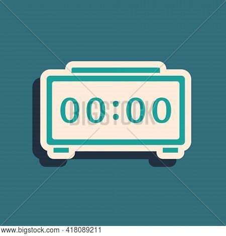 Green Digital Alarm Clock Icon Isolated On Green Background. Electronic Watch Alarm Clock. Time Icon