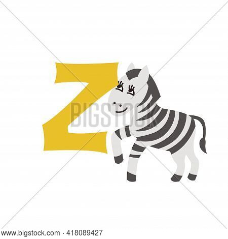 Zebra Animal Alphabet Symbol. English Letter Z Isolated On White Background. Funny Hand Drawn Style
