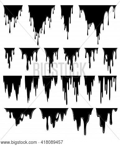 Paint Dripping Liquid. Flowing Oil Stain. Set Of Black Drips. Abstract Flow Stencil. Vector Illustra