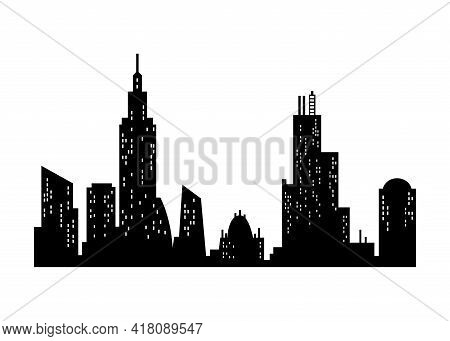 Cityscape Silhouette. Monochrome Panoramic View. Modern Urban Landscape. Horizontal Urban Night Town