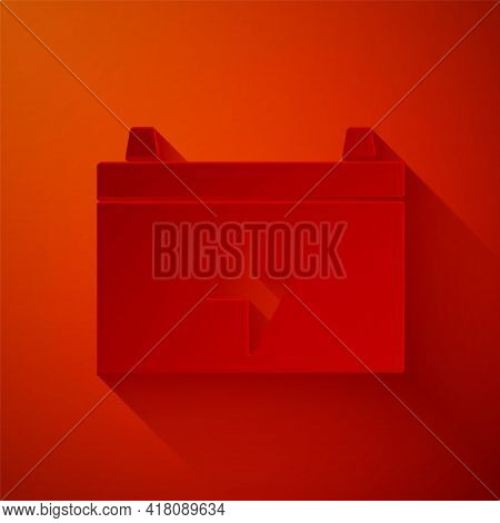 Paper Cut Car Battery Icon Isolated On Red Background. Accumulator Battery Energy Power And Electric