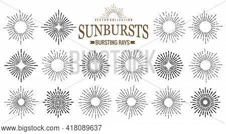 Sunburst Icon Set. Retro Hand Drawn Sparkle. Geometric Sun Beams In Different Forms. Bursting Rays D