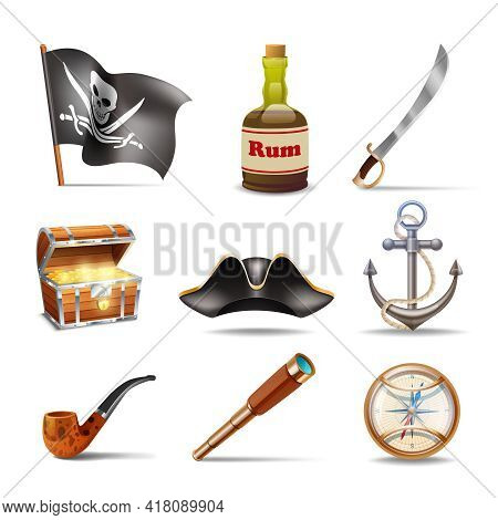 Pirate Icons Set Colorful With Jolly Roger Rum Sabre Treasure Chest Looking Glass Gold Compass Cocke