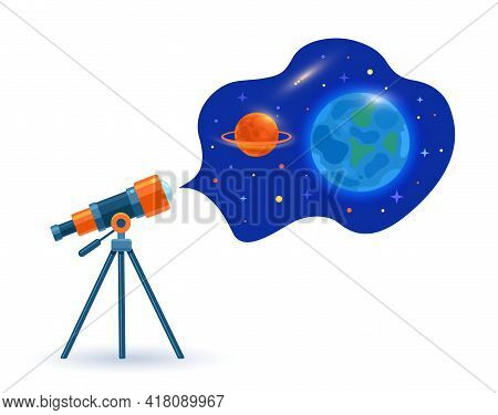 Astronomical Telescope Tube, Space And Planets Earth And Saturn. Dome Of The Astronomical Observator