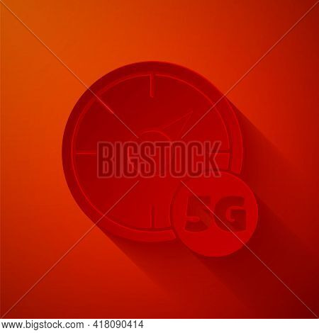 Paper Cut Digital Speed Meter Concept With 5g Icon Isolated On Red Background. Global Network High S