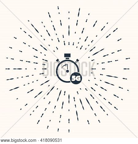 Grey Digital Speed Meter Concept With 5g Icon Isolated On Beige Background. Global Network High Spee