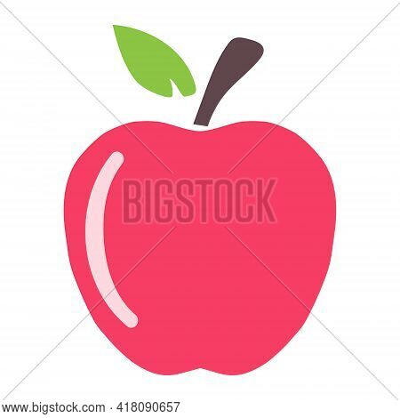 Red Apple, Apple Icon Isolated On White Background. Vector, Cartoon Illustration. Vector.