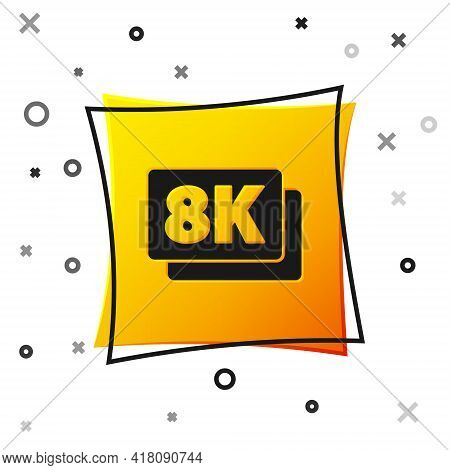 Black 8k Ultra Hd Icon Isolated On White Background. Yellow Square Button. Vector
