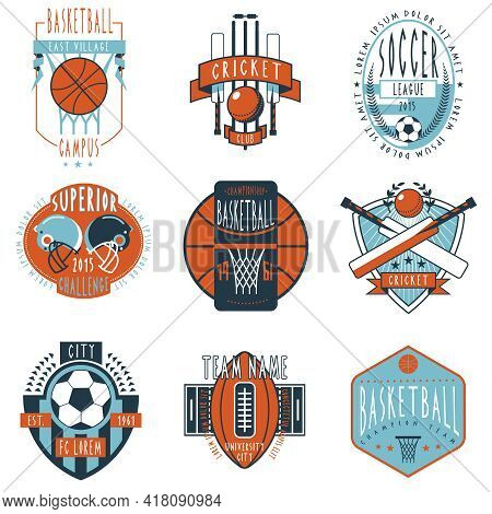 Professional Sport Campus League Teams Clubs And Champions Associations Labels Emblems Icons Collect