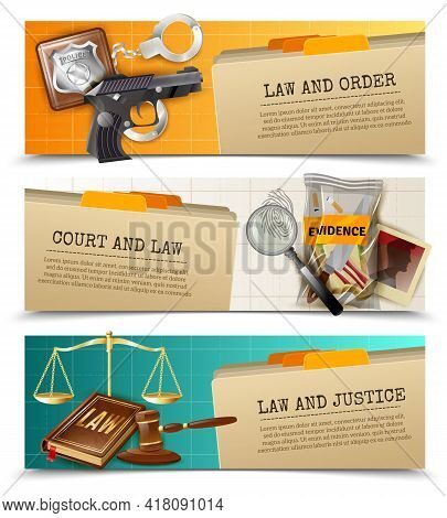 Criminal And Civil Law Order Justice 3 Horizontal Bookmarks Banners Set With Balance And Gavel Isola