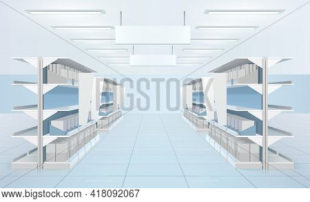 Supermarket Interior With Perspective View Of Supermarket Shelves With Carton Boxes And Blank Tabloi