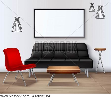 Modern Interior Design Realistic Mockup Poster Template With Sofa Coffee Table Whiteboard And Red Ar
