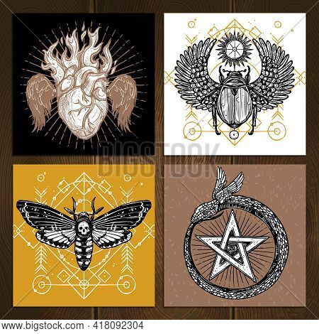 Insects Occult Tattoo Sketch Concept. Occult Tattoo Hand Drawn Set. Magic Tattoo Vector Illustration