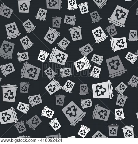 Grey Recycle Bin With Recycle Symbol Icon Isolated Seamless Pattern On Black Background. Trash Can I