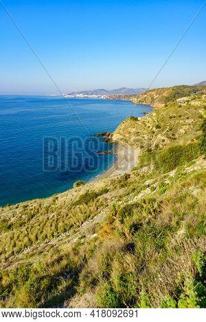 Spanish Coastline In Andalucia. Cliffs Of Maro Cerro Gordo Natural Park, Near Maro And Nerja, Malaga