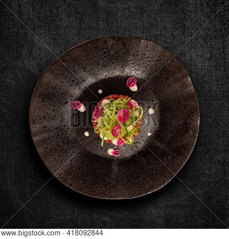 Gourmet Tartar Raw From Beef Fillet Decorated With Cucumber Spaghetti