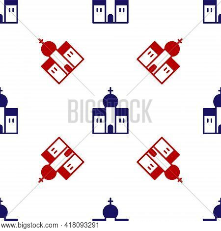 Blue And Red Church Building Icon Isolated Seamless Pattern On White Background. Christian Church. R