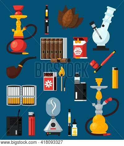 Smoking Flat Colored Icons Set With Cigarettes Cigar Matches Lighters Bong Hookah Pipe Tobacco Leave