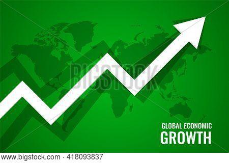 Global Economi Growth Upward Arrow Green Background