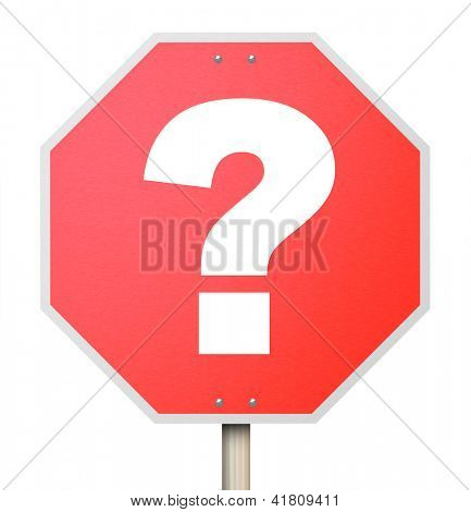 A question mark on a red octogon shapped stop sign isolated on white background poster