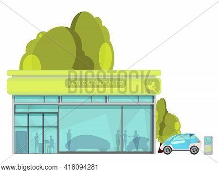 Flat Design Eco Friendly Electro Cars Dealer Centre On White Background Vector Illustration