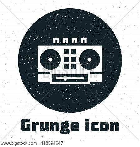 Grunge Dj Remote For Playing And Mixing Music Icon Isolated On White Background. Dj Mixer Complete W