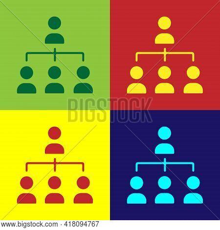 Pop Art Business Hierarchy Organogram Chart Infographics Icon Isolated On Color Background. Corporat
