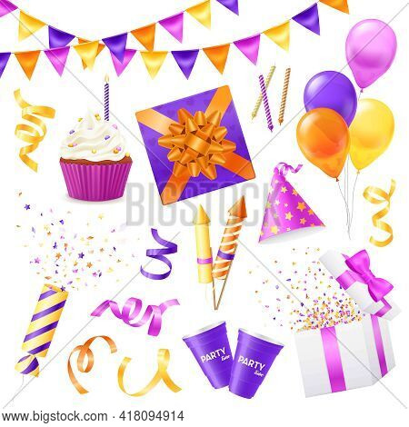 Colored And Isolated Realistic Party Icon Set For Birthday Party New Year Party And For Fun Vector I
