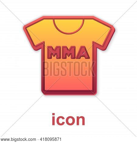 Gold T-shirt With Fight Club Mma Icon Isolated On White Background. Mixed Martial Arts. Vector
