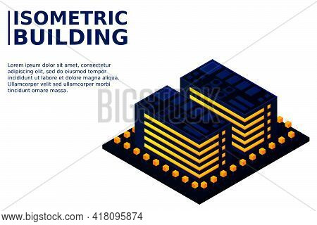 Smart City Or Intelligent Building Isometric Vector Concept. Modern Smart City Urban Planning And De
