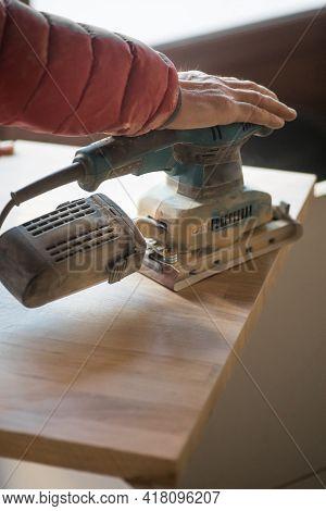 Sanding Wood Plank Using Electric Sand Machine