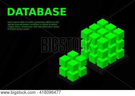 Isometric Digital Technology Web Banner. Big Data Machine Learning Algorithms. Analysis And Informat
