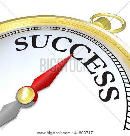 A compass with the word Success and a red arrow needle pointing to it, symbolizing that the search mission of finding your objective has reached a successful conclusion