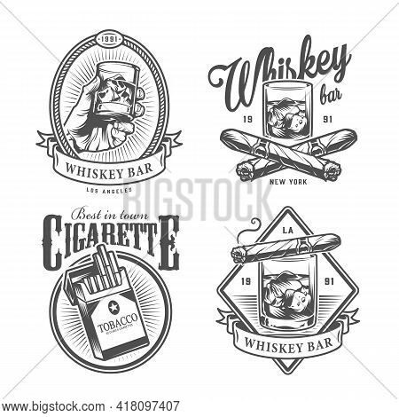 Vintage Monochrome Gentleman Club Labels With Hand Holding Glass Of Whiskey Crossed Cuban Cigars Pac