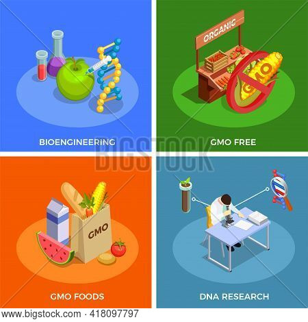Genetically Modified Organisms Isometric Design Concept With Bio Engineering, Dna Research, Gmo Food