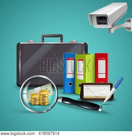 Business Realistic Concept With Various Objects In Office Of Book Keeper Vector Illustration