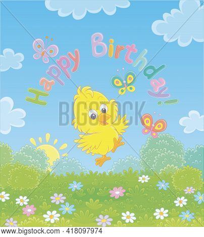 Birthday Card With A Happy Little Yellow Chick Dancing With Small Butterflies Flittering Over A Pret