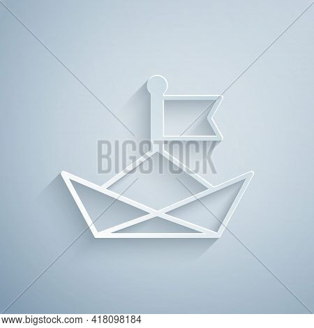 Paper Cut Folded Paper Boat Icon Isolated On Grey Background. Origami Paper Ship. Paper Art Style. V