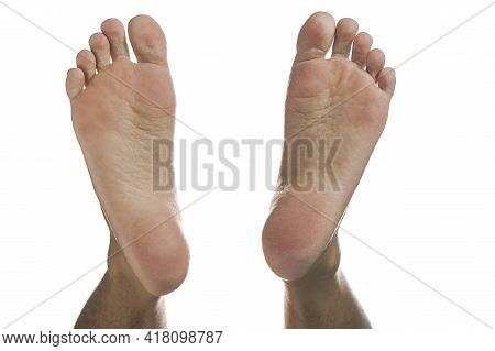 Human Soles Of The Feet Isolated On White Background.