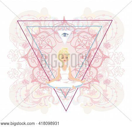 Woman With Third Eye, Psychic Supernatural Senses , Vector Illustration