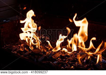 Hot Bbq Grill And Burning Fire. You Can See More Bbq, Grilled Food, Flames And Fire.empty Flaming Ch