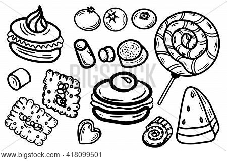 Coloring Page With Cake, Cupcake, Candy And Other Dessert With Berry