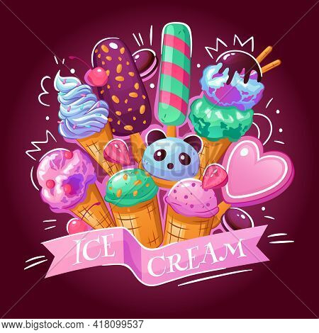 Ice Cream Products Assortment Background Advertisement Poster With Delicious Frozen Yogurt Chocolate