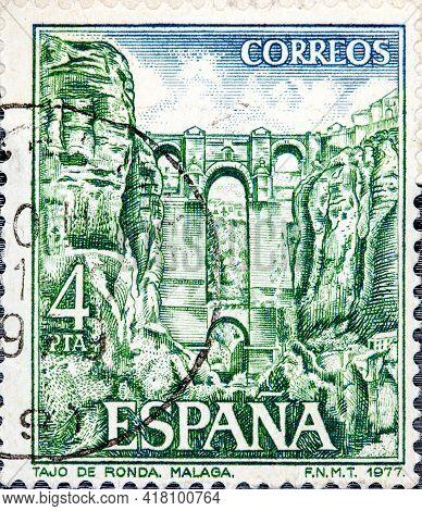 Spain - Circa 1977: A Stamp Printed In Spain Shows Ronda Circa 1977