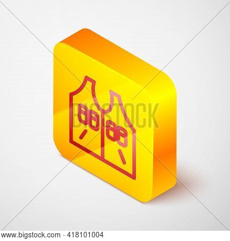 Isometric Line Hunting Jacket Icon Isolated On Grey Background. Hunting Vest. Yellow Square Button.
