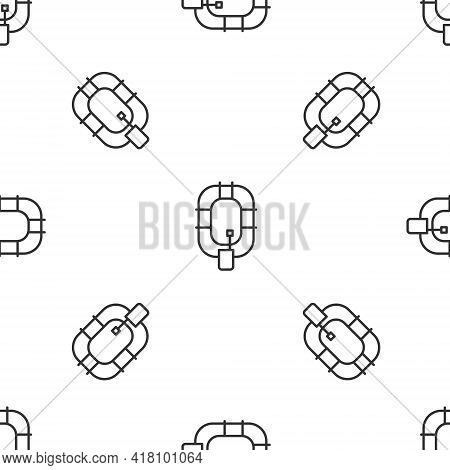 Grey Line Inflatable Boat Icon Isolated Seamless Pattern On White Background. Rafting Boat. Water Sp