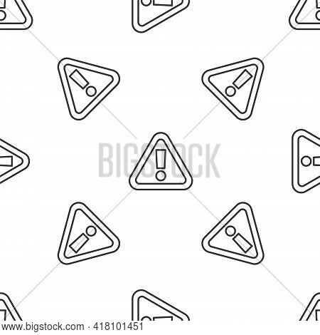 Grey Line Exclamation Mark In Triangle Icon Isolated Seamless Pattern On White Background. Hazard Wa