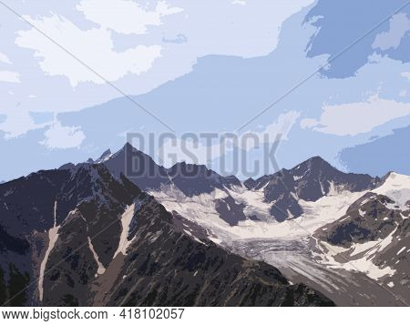Mountains Covered With Snow On A Sunny Day, Caucasus